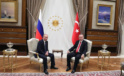 Vladimir Putin during his visit to Ankara with President of Turkey Recep Tayyip Erdogan.