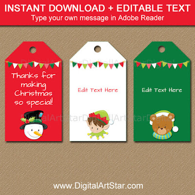 kids christmas tags - printable pdf file