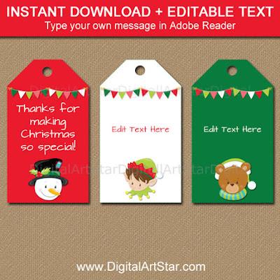 kids christmas tags christmas goodie bag toppers santa and elf
