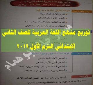 توزيع منهج اللغة العربية للصف الثانى الابتدائى الفصل الدراسى الاول