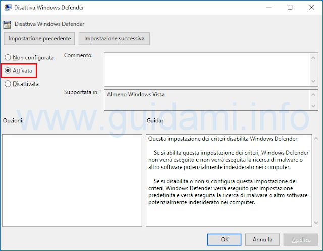 Disattivare Windows Defender su Windows