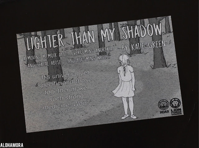 Lighter than My Shadow by Katie Green is a teen, young adult memoir graphic novel.  Intense quick read about anorexia, mental illness, depression, sexual abuse, sexual assault, tough, sad, recovery. Sponsored. Book review. 3.5 out of 5 Stars. Alohamora Open a Book alohamoraopenabook http://alohamoraopenabook.blogspot.com/