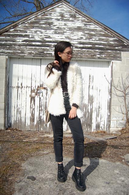 white fuzzy jacket