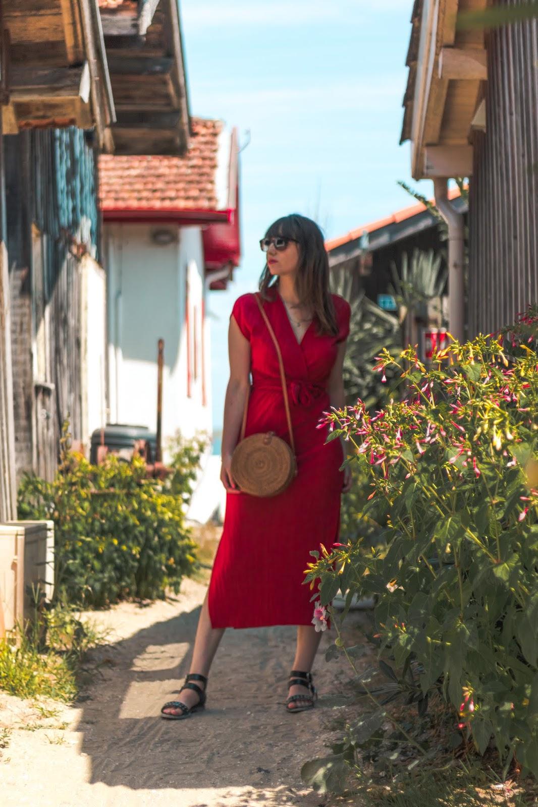 robe longue rouge blog mode bordeaux
