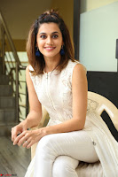 Taapsee Pannu in cream Sleeveless Kurti and Leggings at interview about Anando hma ~  Exclusive Celebrities Galleries 008.JPG
