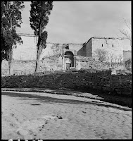 The Golden Gate (Porta Aurea) in the Yedi Kule, February 1937. Artamonoff here records the gate's exterior and an Ottoman Cemetery from the paved road that stretches along the walls [Credit: © Nicholas V. Artamonoff Collection, Image Collections and Fieldwork Archives, Dumbarton Oaks]