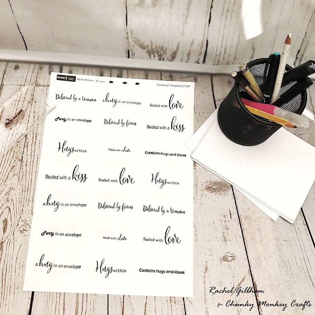 stamped address labels- Rachel Gillham Art FT Chunky Monkey Crafts stamps