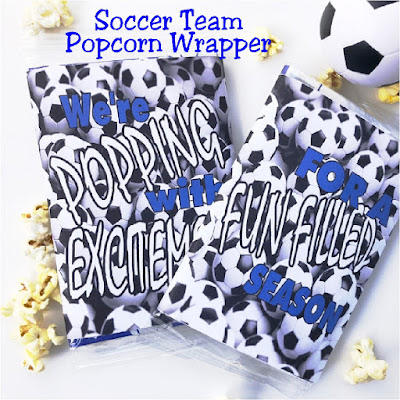 Excite your soccer team with a fun free printable for microwave popcorn.  You can print and wrap this soccer printable around the popcorn and give to each player before the start of the season or your first soccer game.  Great idea for Team Moms or Cheer teams. #soccer #soccerparty #soccerteam #teammom #popcorn #diypartymomblog