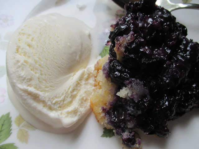 Blueberry Cobbler with Vanilla Ice Cream
