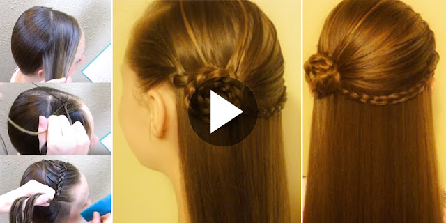 Learn - How To Create Rosette Braid & Feathered Headband Hairstyle, See Tutorial