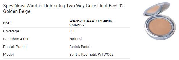 Bedak wardah untuk kulit kering - Lightening Two Way Cake Light Feel