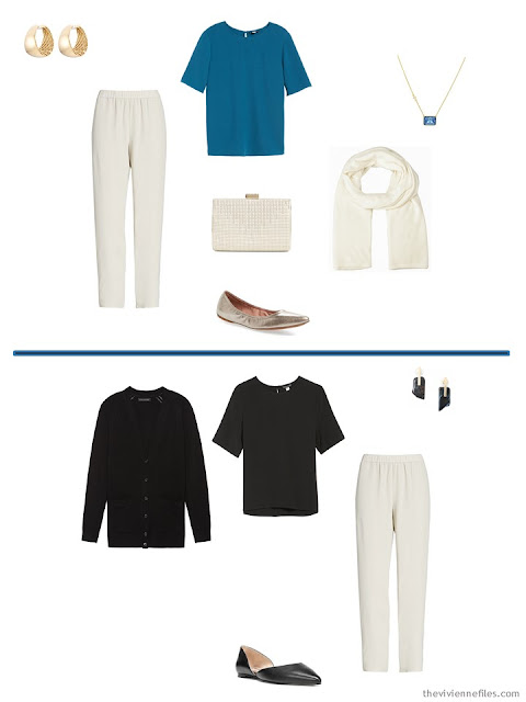 2 ways to wear ivory pants in a Tote Bag Travel wardrobe of camel, black, ivory and blue