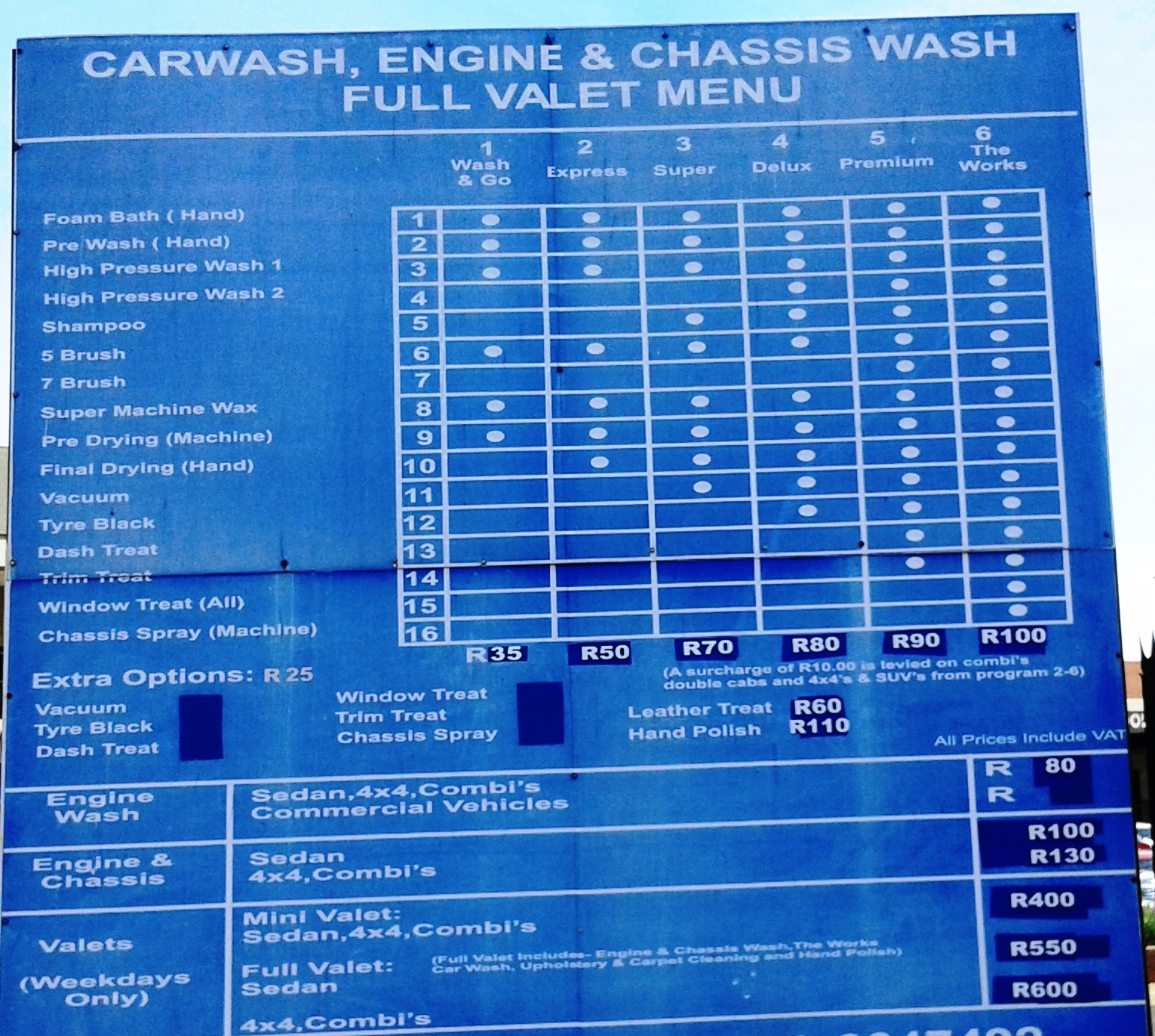 Car Wash Price For Throwing Up