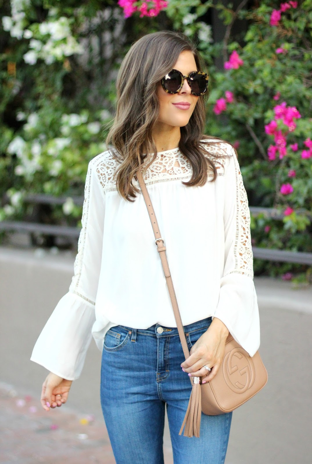 Lacy Bell Sleeve Blouse