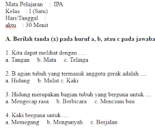 Soal-Ujian-UTS-UKK-IPA-Kelas-1-SD-Semester-1