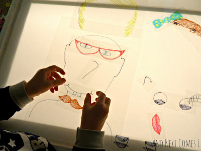 Adding a mouth to create funny faces on the light table from And Next Comes L