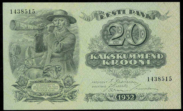 Estonian banknotes money currency images 20 Krooni note