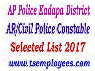 AP Police Kadapa District AR/Civil Police Constable Selection List 2017 Merit List Marks