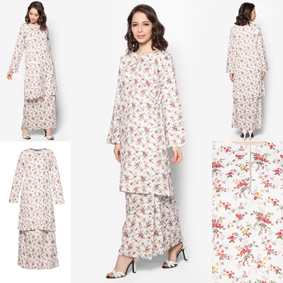 Baju Kurung Cotton Warna White Red - Baju Raya 2016