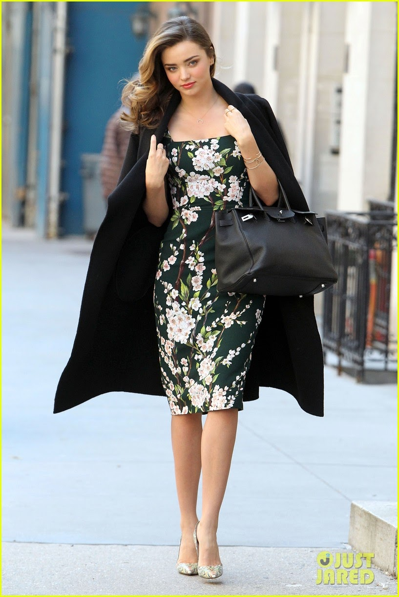 Miranda Kerr wore Dolce & Gabbana Ruched floral-print crepe dress