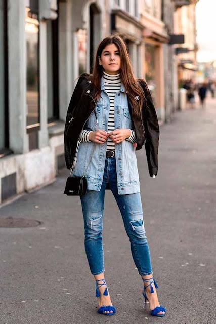 Colete jeans com calça