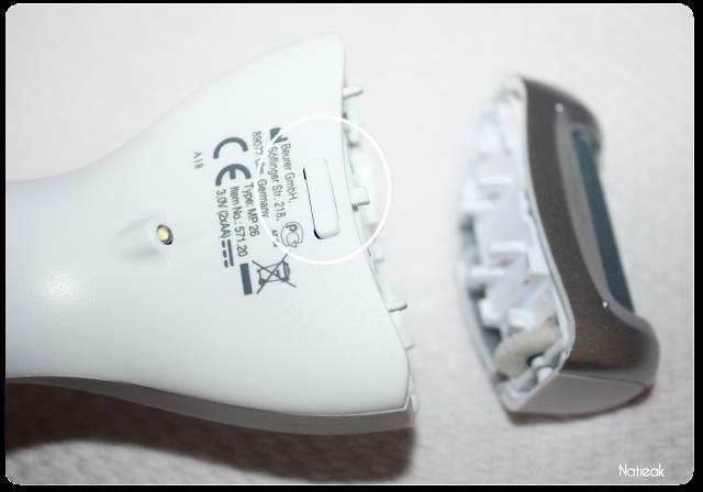 changement de la tête rotative de la  ponceuse électrique pour pieds de  Beurer