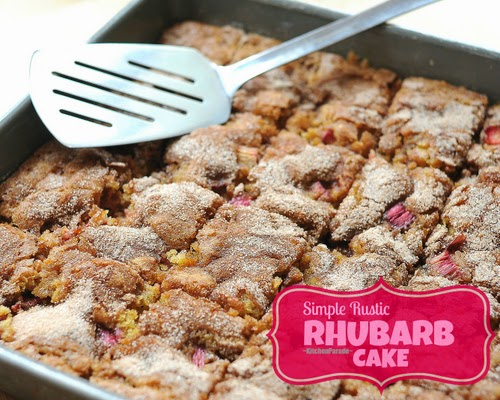 Rhubarb Cake, simple and rustic, less sweet to really taste rhubarb's wonderful 'sour'.