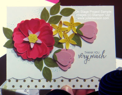 Cool Tip: Use Best Badge Punch to create Scallop Border! NEW Bunch of Blossoms Card from #OnStage2016 #stampinup www.juliedavison.com