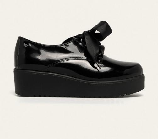 Wojas - Pantofi casual de dama de piele naturala lacuita negri cu talpa