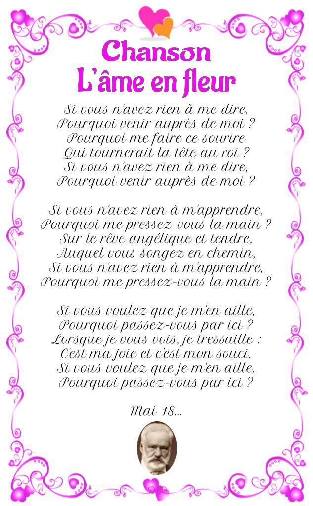 Poème : Chanson (L'Âme en fleur) de Victor Hugo