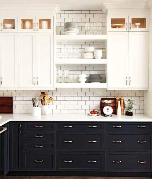 Black Kitchen Cabinets with white countertops and white subway tiles :: OrganizingMadeFun.com