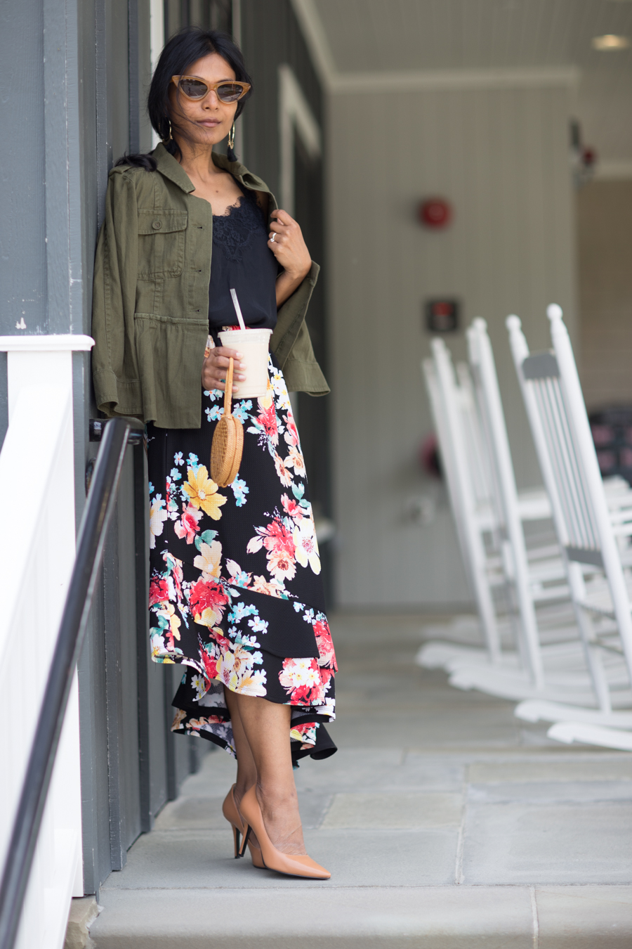 utility jacket, peplum, summer jacket, floral print, midi skirt, loft, urban outfitters, petite fashion, new england travel, fashion over 40