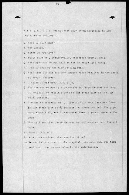Coroner's Report for Jacob Meinzen of Steubenville, Ohio, testimony of Ray Amidon
