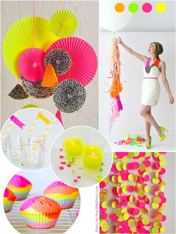 Trendy Neon Birthday Party Ideas - via BirdsParty.com
