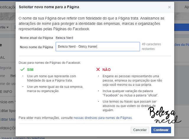 como mudar o nome da minha pagina no facebook