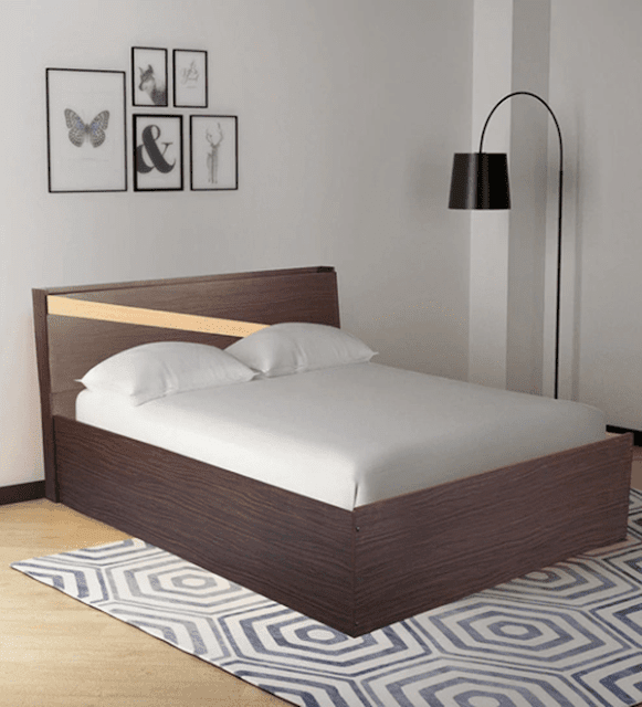 Hitomu Queen Size Bed with Headboard Storage in Walnut Finish by Mintwud