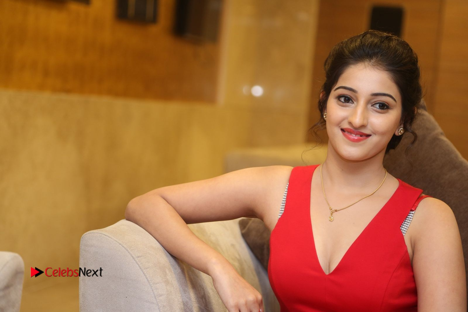 Mouryani in a Red Deep neck Spicy Sleevless Red Gown at Intlo Deyyam Nakem Bhayam Trailer Launch