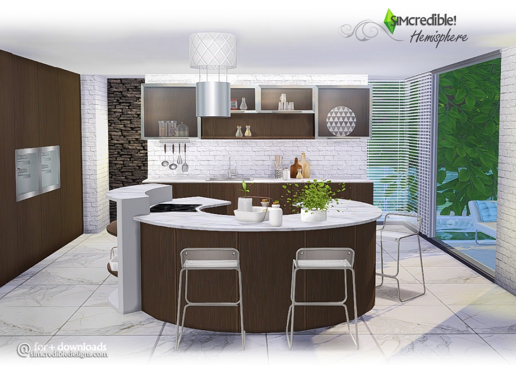 Sims 4 cc's   the best: hemisphere kitchen set by simcredible designs