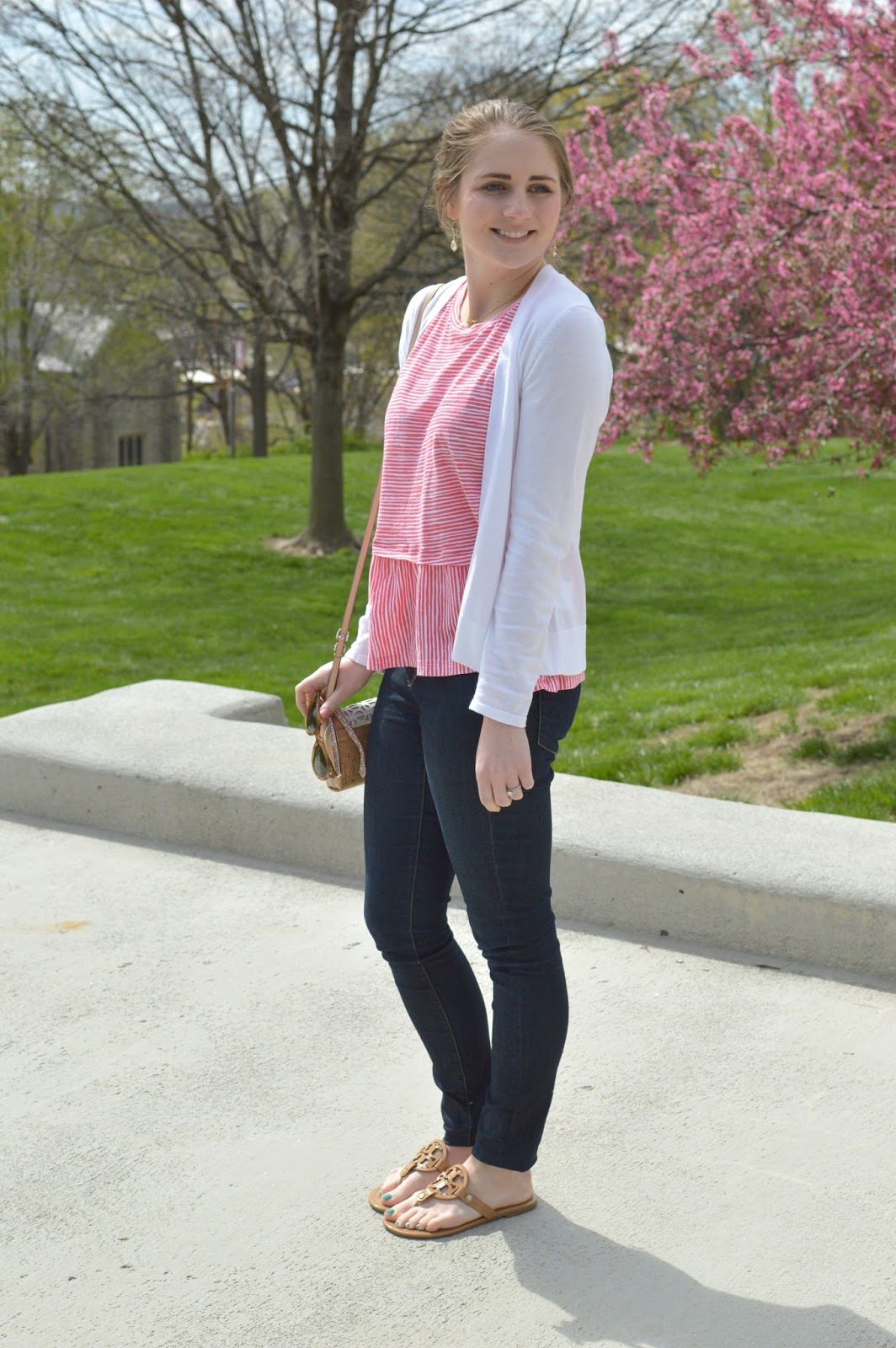 how to style a peplum top | spring outfit ideas | red and white striped top |