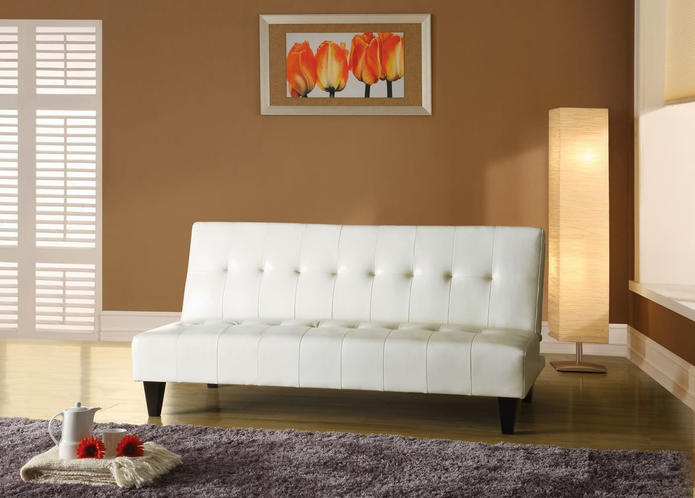 Living Room Small White Couch futon couch acme white polyurethane small couch