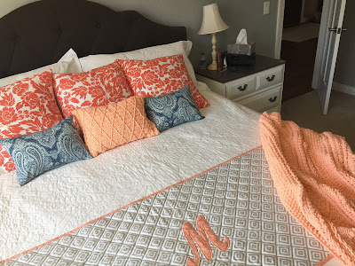 #millsnewhouse, master bedroom, pillows, bed design, crochet, quilting, bed scarf