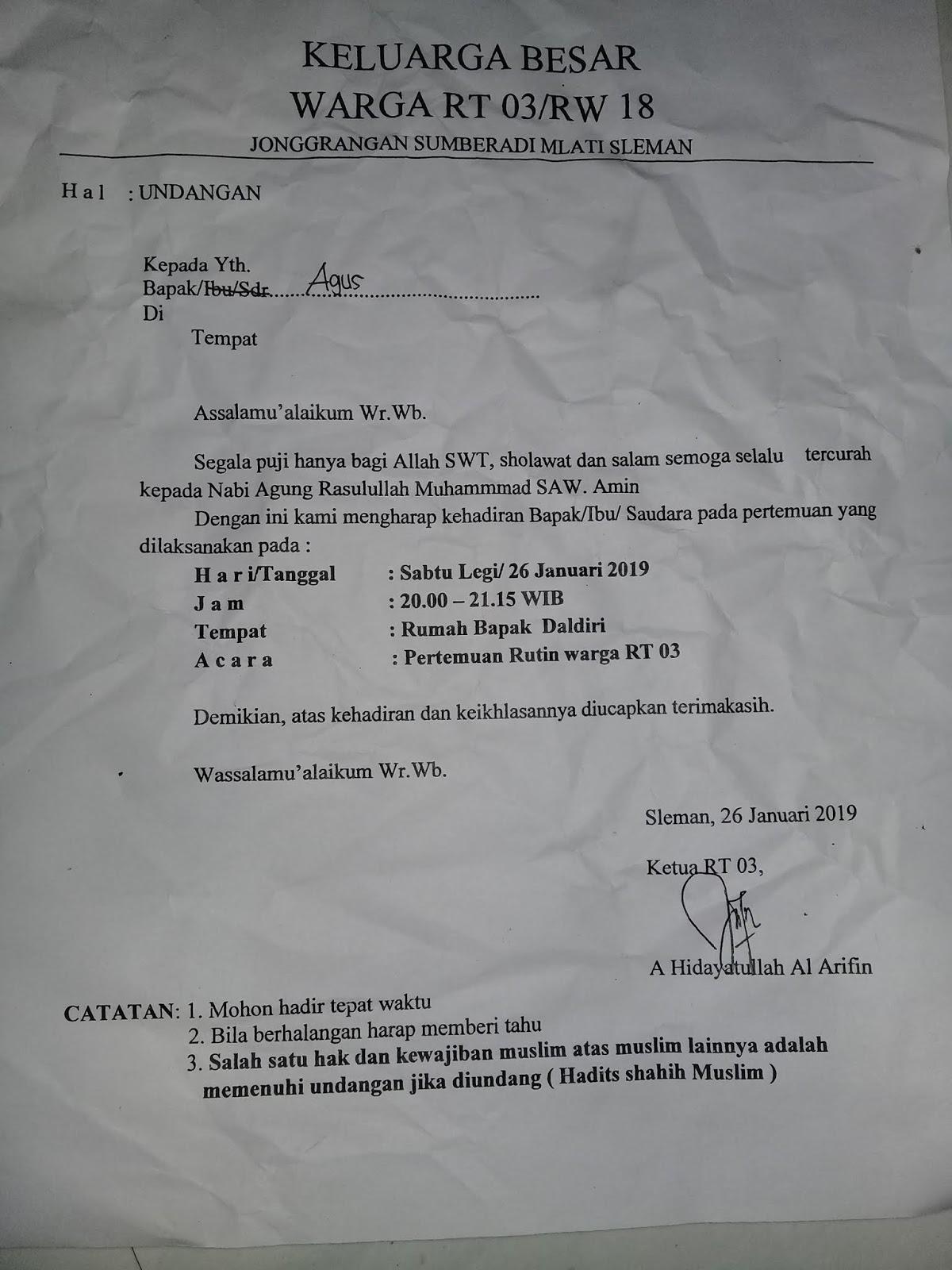 Contoh Surat Undangan Rapat Rt Rw