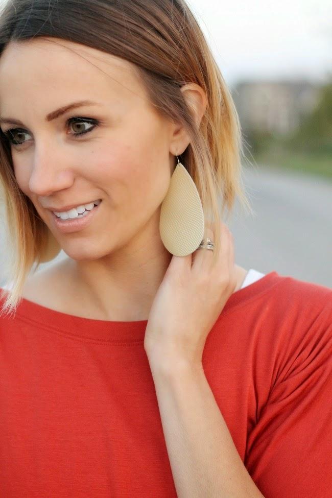 Textured Pearl leather earrings- Nickel & Suede