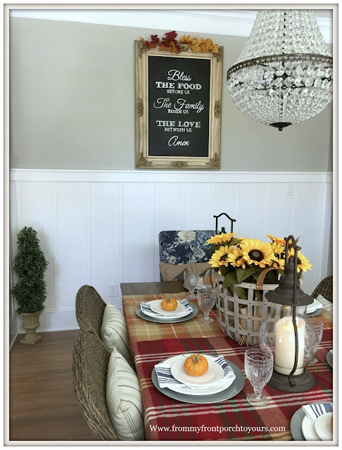 French Farmhouse Style Fall Dining Room-Pottery Barn- Mia Chandlier-Basket of Sunflowers-From My Front Porch To Yours