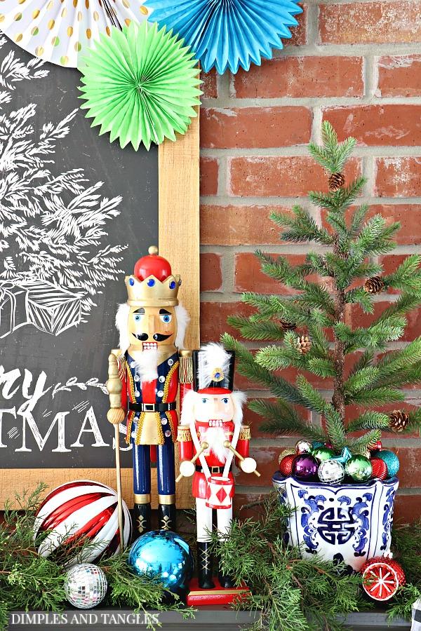 christmas chalkboard, nutcrackers,  christmas mantel