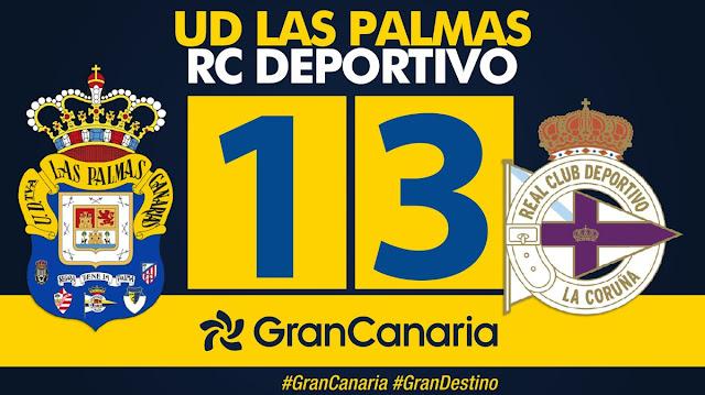 Marcador final UD Las Palmas 1-3 RC Deportivo