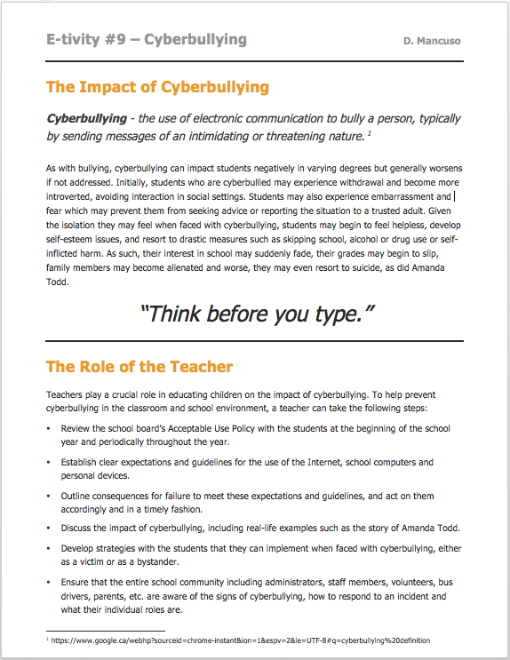 Impact of cyberbullying
