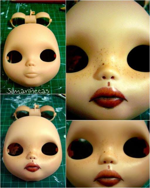 maquillaje y carving labios de bebé a basaak doll o blythe