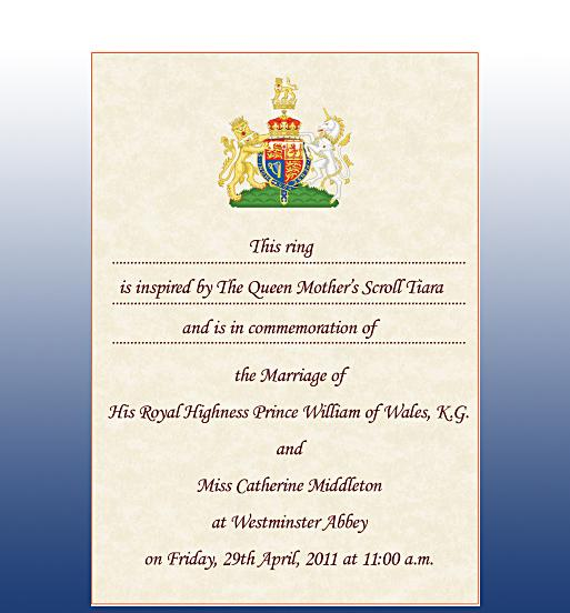 Prince William And Kate Wedding Invitation