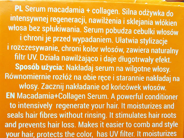 Bioelixire, Macadamia Oil + Collagen - Serum do włosów, etykieta